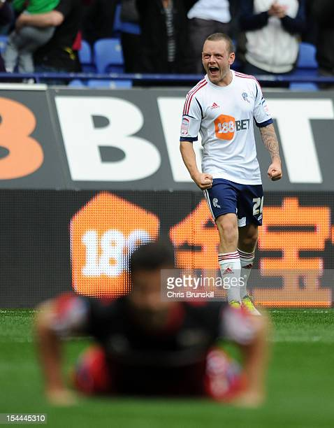 Jay Spearing of Bolton Wanderers celebrates scoring his side's second goal during the npower Championship match between Bolton Wanderers and Bristol...