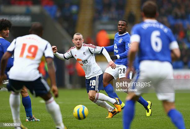 Jay Spearing of Bolton Wanderers passes the ball during the FA Cup with Budweiser Fourth Round match between Bolton Wanderers and Everton at the...