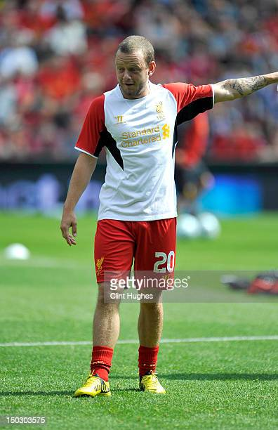 Jay Spearing of Liverpool during the pre season friendly match between Liverpool and Bayer Leverkusen at Anfield on August 12 2012 in Liverpool...