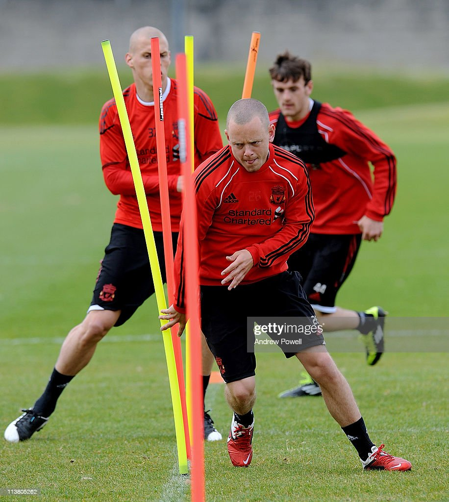 Jay Spearing of Liverpool in action during a Liverpool training session at Melwood Training Ground on May 6, 2011 in Liverpool, England.