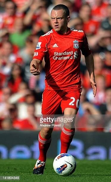 Jay Spearing of Liverpool in action during the Barclays Premier League match between Liverpool and Wigan at Anfield on March 24 2012 in Liverpool...