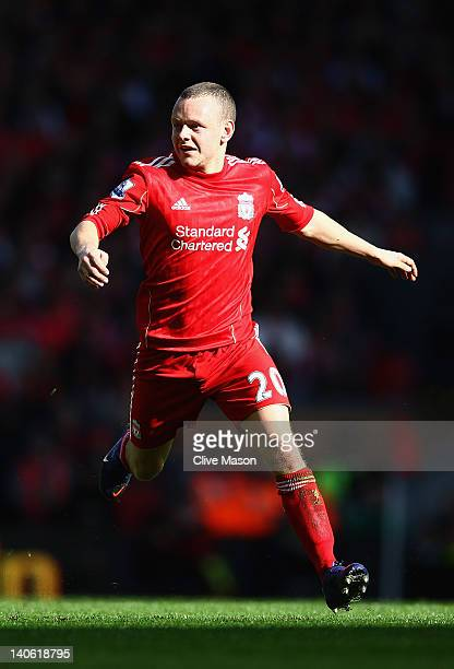 Jay Spearing of Liverpool looks on during the Barclays Premier League match between Liverpool and Arsenal at Anfield on March 3 2012 in Liverpool...