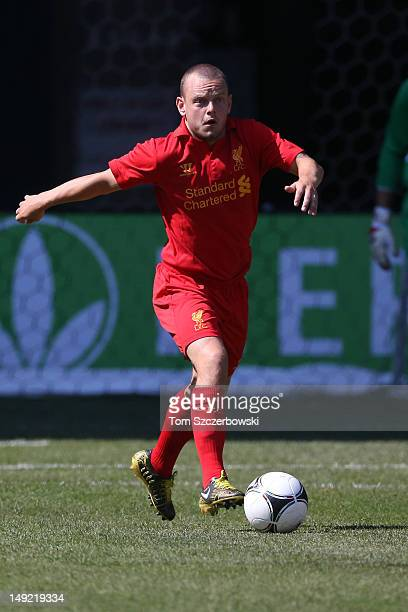 Jay Spearing of Liverpool moves out with the ball against Toronto FC during the World Football Challenge friendly match on July 21 2012 at Rogers...