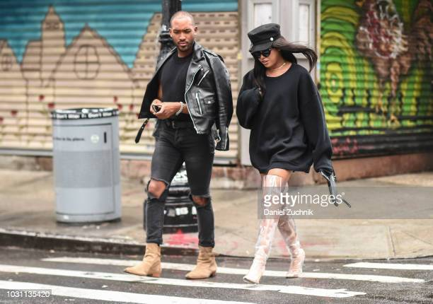 Jay Strut is seen wearing a black sweatshirt and clear boots outside the 31 Phillip Lim show during New York Fashion Week Women's S/S 2019 on...