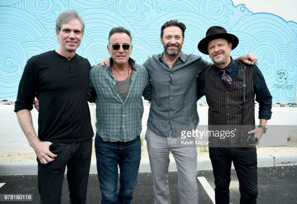 Jay Sugarman Bruce Springsteen Hugh Jackman and Danny Clinch attend the Grand ReOpening of Asbury Lanes at Asbury Lanes on June 18 2018 in Asbury...