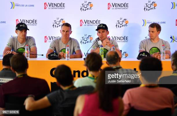 Jay Thomson of South Africa and Team Dimension Data / Serge Pauwels of Belgium / Mark Cavendish of Great Britain / Edvald Boasson Hagen of Norway and...
