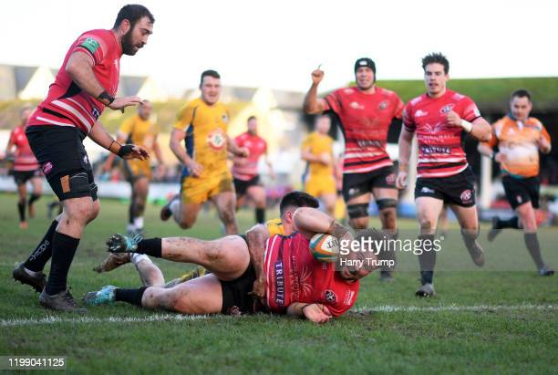 Jay Tyack of Cornish Pirates goes over for a try during the Greene King IPA Championship match between Cornish Pirates and Yorkshire Carnegie at...