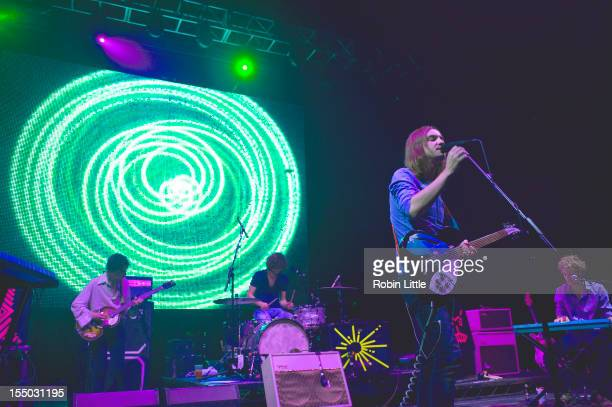 Jay Watson Julien Barbagallo Kevin Parker and Nick Allbrook of Tame Impala performs on stage at Brixton Academy on October 30 2012 in London United...