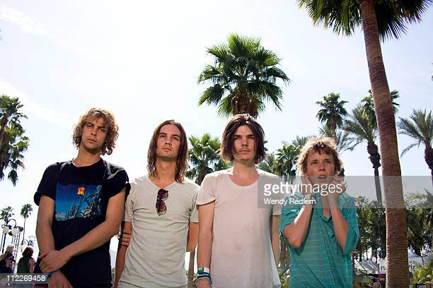 Jay Watson Kevin Parker Dominic Simper and Nick Allbrook of Tame Impala pose backstage during the first day of Coachella Valley Music Festival on...