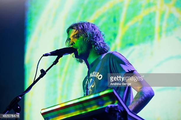 Jay Watson of Tame Impala performs on stage at Albert Hall on July 12, 2014 in Manchester, United Kingdom.