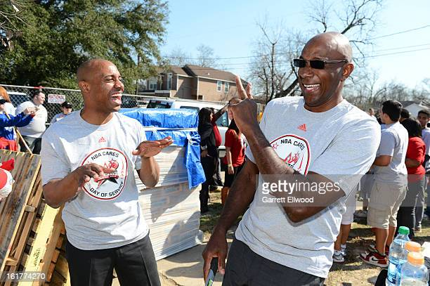 Jay Williams and former NBA player Clyde Drexler participate at the 2013 NBA Cares Day of Service at the Playground Build with KaBOOM on February 15...