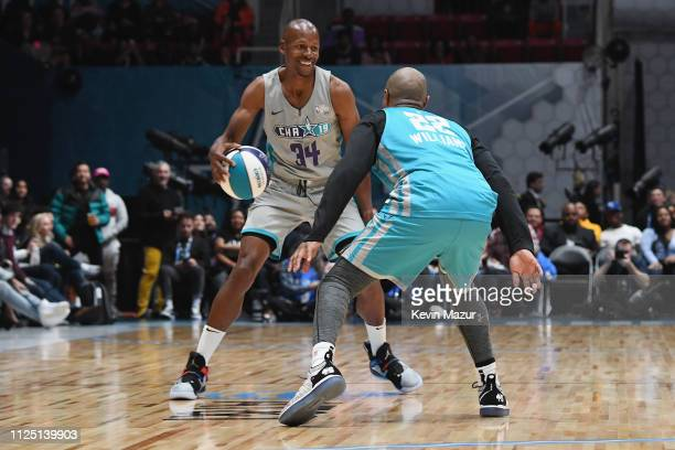 Jay Williams defends Ray Allen during the 2019 NBA AllStar Celebrity Game at Bojangles Coliseum on February 16 2019 in Charlotte North Carolina