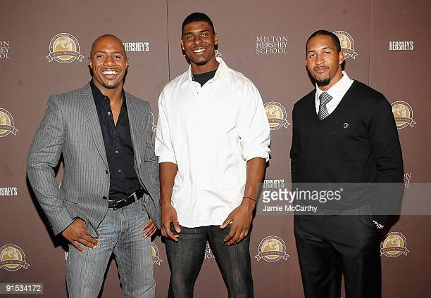 Jay Williams Former Chicago Bulls Player with Ramses Barden and Terrel Thomes of The NY Giants attend the New York City Premiere of Milton Hershey...