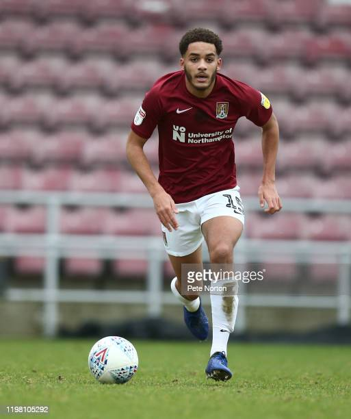Jay Williams of Northampton Town in action during a behind closed doors friendly match between Northampton Town and Cambridge United at PTS Stadium...