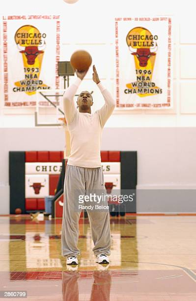 Jay Williams of the Chicago Bulls is interviewed by the local CBS television station during a Shoot Around on December 20 2003 at the Bull's practice...