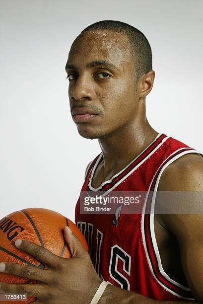Jay Williams of the Chicago Bulls poses for a portrait during the rookie photo shoot at St Peter's Prep on August 4 2002 in Jersey City New Jersey...