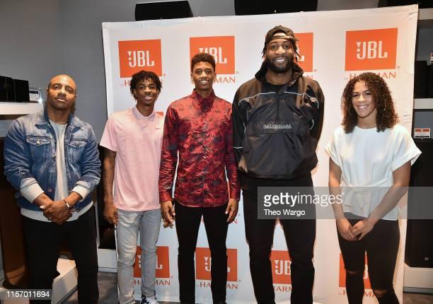 Jay Williams of The Players' Tribune Ja Morant draftee and JBL Partner Jarrett Culver draftee and JBL panelist Andre Drummond NBA star and JBL...