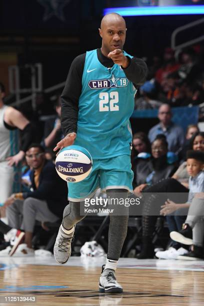 Jay Williams points to a teammate during the 2019 NBA All-Star Celebrity Game at Bojangles Coliseum on February 16, 2019 in Charlotte, North Carolina.