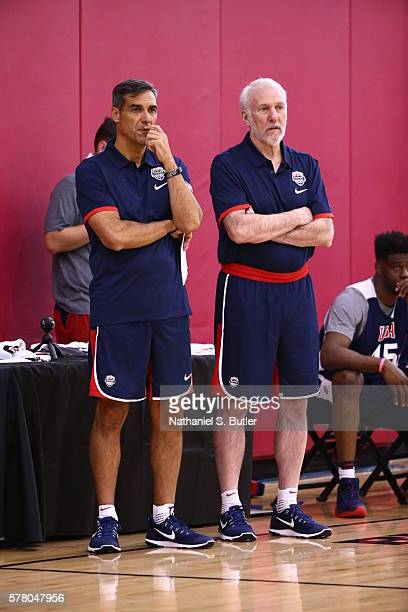 Jay Wright and Gregg Popovich of the USA Basketball Men's Select Team during practice on July 18, 2016 at Mendenhall Center on the University of...