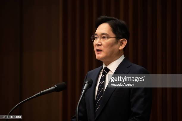 Jay Y. Lee, Vice Chairman of Samsung Electronics, holds a press conference at the company's headquarters in Seoul, South Korea, on May 6, 2020....