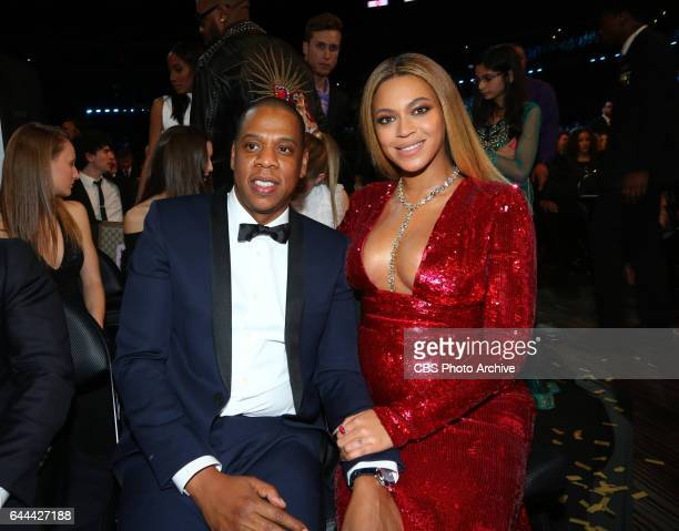 Jay Z and Beyoncé attend at THE 59TH ANNUAL GRAMMY AWARDS broadcast live from the STAPLES Center in Los Angeles Sunday Feb 12 on the CBS Television...