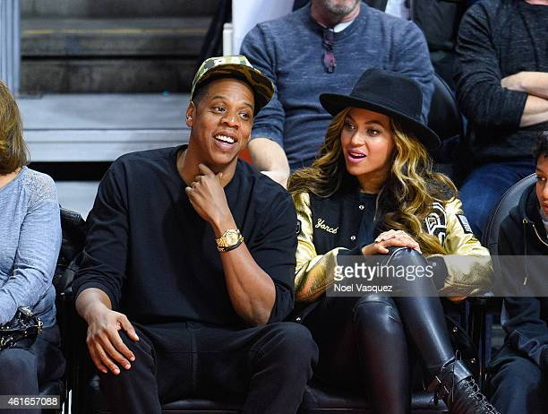 Jay Z and Beyonce attend a basketball game between the Cleveland Cavaliers and the Los Angeles Clippers at Staples Center on January 16, 2015 in Los...
