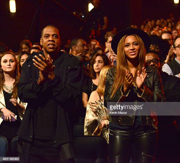 Jay Z and Beyonce attend Stevie Wonder Songs In The Key Of Life An AllStar GRAMMY Salute at Nokia Theatre LA Live on February 10 2015 in Los Angeles...