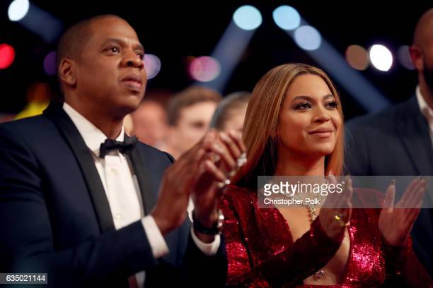 Jay Z and Beyonce attend The 59th GRAMMY Awards at STAPLES Center on February 12 2017 in Los Angeles California