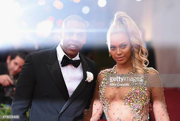 Jay Z and Beyonce attend the China Through The Looking Glass Costume Institute Benefit Gala at the Metropolitan Museum of Art on May 4 2015 in New...