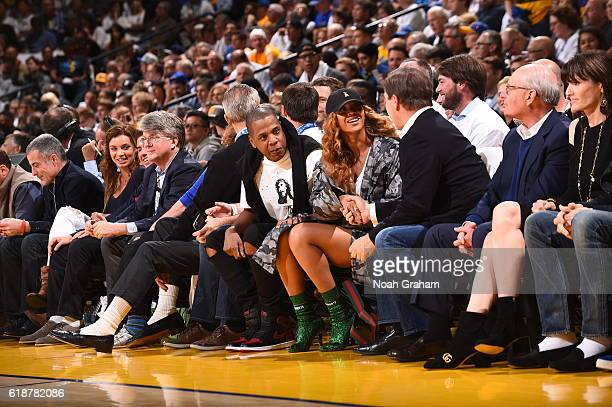 Jay Z and Beyonce attend the game between the Golden State Warriors and San Antonio Spurs on October 25 2016 at ORACLE Arena in Oakland California...