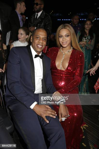 Jay Z and Beyonce during THE 59TH ANNUAL GRAMMY AWARDS broadcast live from the STAPLES Center in Los Angeles Sunday Feb 12 on the CBS Television...