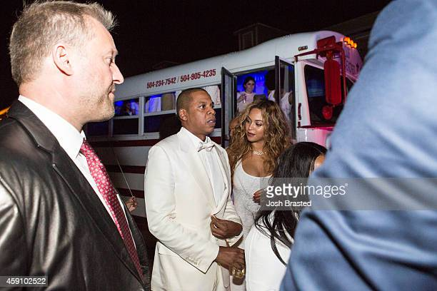 Jay Z and Beyonce Knowles attend the secondline following sister Solange Knowles and her new husband music video director Alan Ferguson's wedding on...