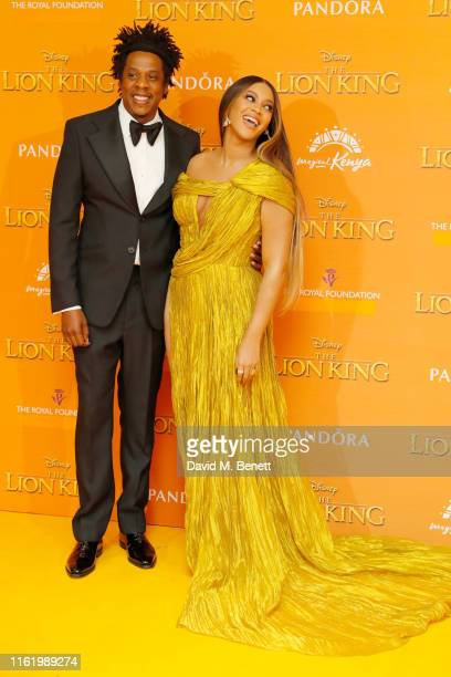 Jay Z and Beyonce Knowles attends the European Premiere of The Lion King at Odeon Luxe Leicester Square on July 14 2019 in London England