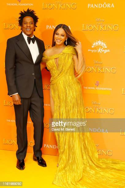 """Jay Z and Beyonce Knowles attends the European Premiere of """"The Lion King"""" at Odeon Luxe Leicester Square on July 14, 2019 in London, England."""