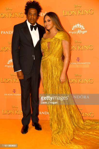 Jay Z and Beyonce KnowlesCarter attend The Lion King European Premiere at Leicester Square on July 14 2019 in London England