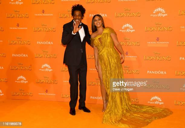 Jay Z and Beyonce KnowlesCarter attends The Lion King European Premiere at Leicester Square on July 14 2019 in London England