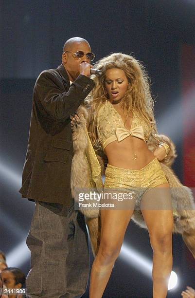 Jay Z and Beyonce perform onstage during the 2003 MTV Video Music Awards at Radio City Music Hall on August 28 2003 in New York City