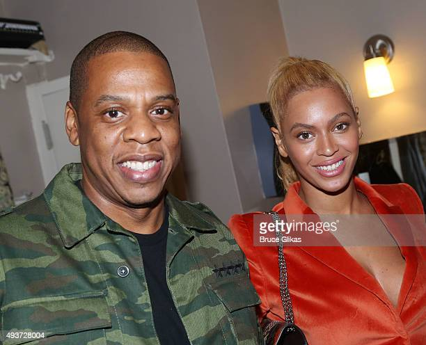 Jay Z and Beyonce pose backstage at the hit musical Hamilton on Broadway at The Richard Rogers Theater on October 21 2015 in New York City