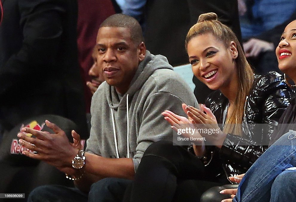 Jay Z and Beyonce take in the game between the Brooklyn Nets and the Los Angeles Clippers at the Barclays Center on November 23, 2012 in the Brooklyn borough of New York City.