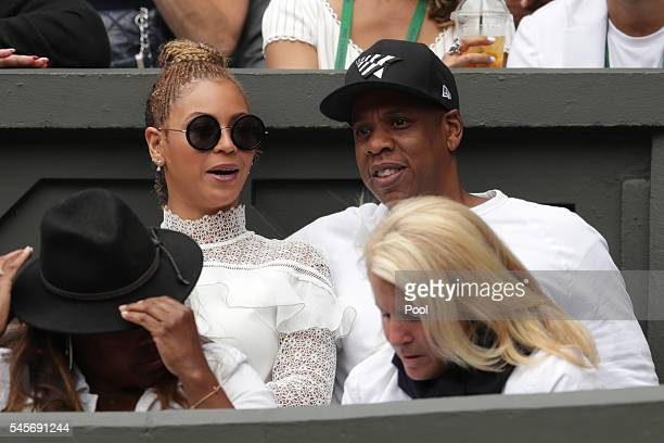 Jay Z and Beyonce watch on as Serena Williams of The United States and Angelique Kerber of Germany play in the Ladies Singles Final match on day...