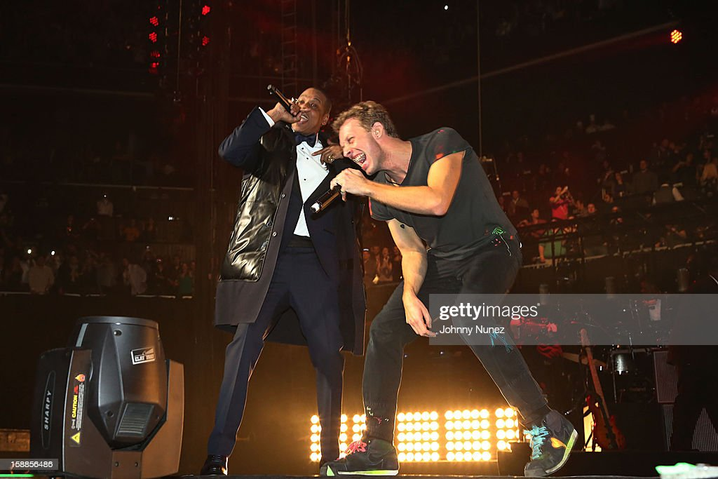 Jay Z and Chris Martin perform at Barclays Center on December 31, 2012 in the Brooklyn borough of New York City.