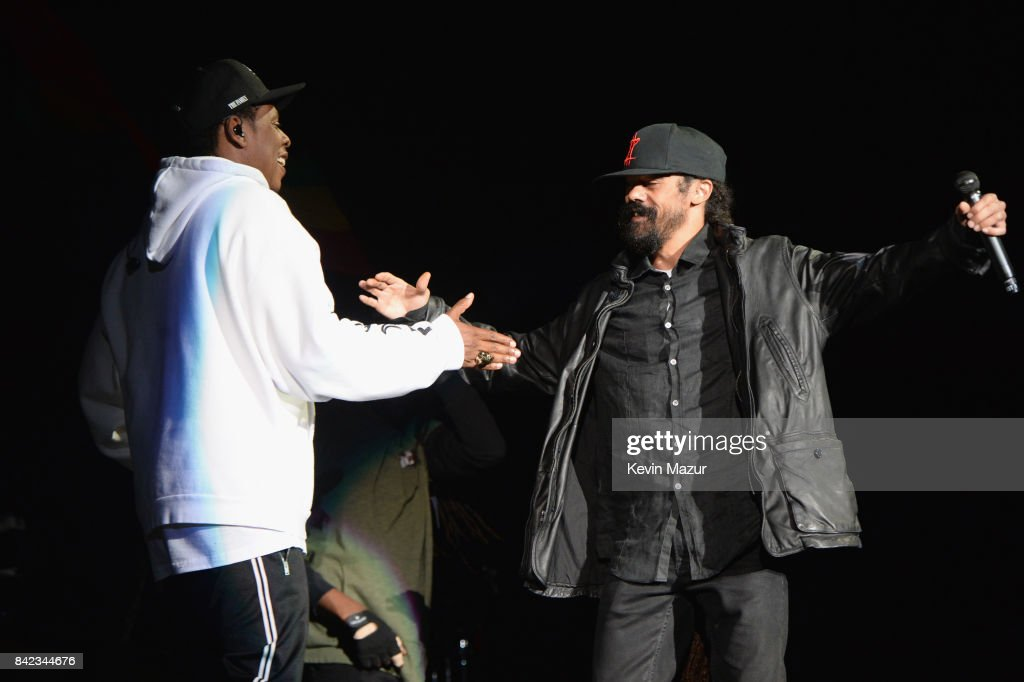 Jay Z and Damian Marley perform onstage during the 2017 Budweiser Made in America festival - Day 2 at Benjamin Franklin Parkway on September 3, 2017 in Philadelphia, Pennsylvania.