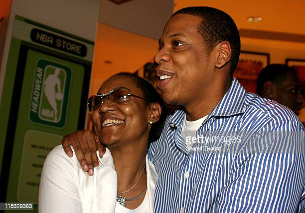 Jay Z and his mom during Got Milk NBA Rookie Of The Year 2004 Presented to LeBron James at NBA Store in New York City New York United States