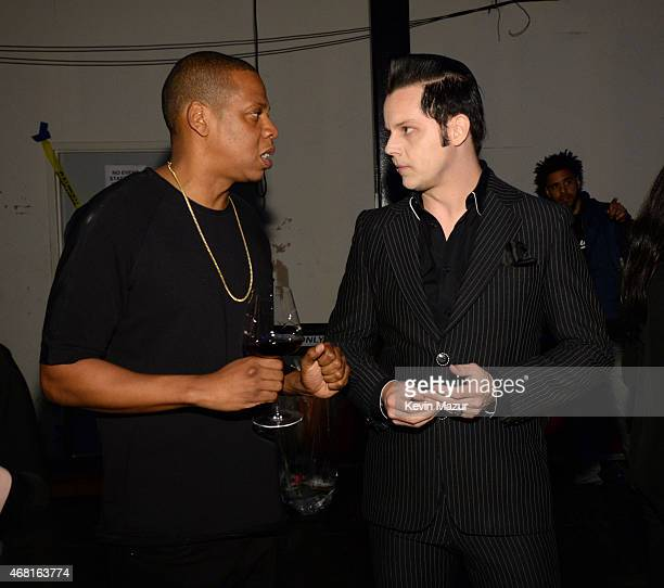 Jay Z and Jack White attend the Tidal launch event #TIDALforALL at Skylight at Moynihan Station on March 30 2015 in New York City