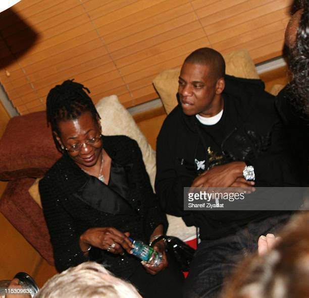 Jay Z and Mom during Alex Rodriguez and Jay Z Celebrity Poker Tournament Inside at 40/40 Club in New York United States
