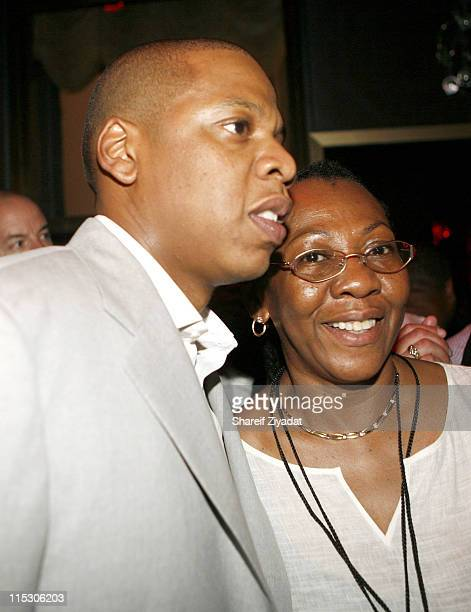 Jay Z and with his mother during JayZ Celebrates the 10th Anniversary of Reasonable Doubt Inside at Rainbow Room in New York United States
