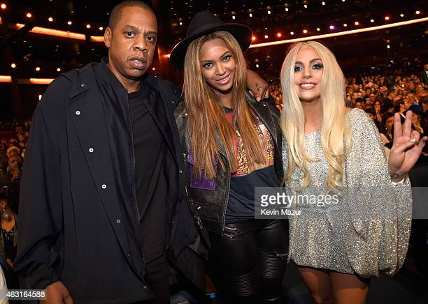 Jay Z Beyonce and Lady Gaga attend Stevie Wonder Songs In The Key Of Life An AllStar GRAMMY Salute at Nokia Theatre LA Live on February 10 2015 in...