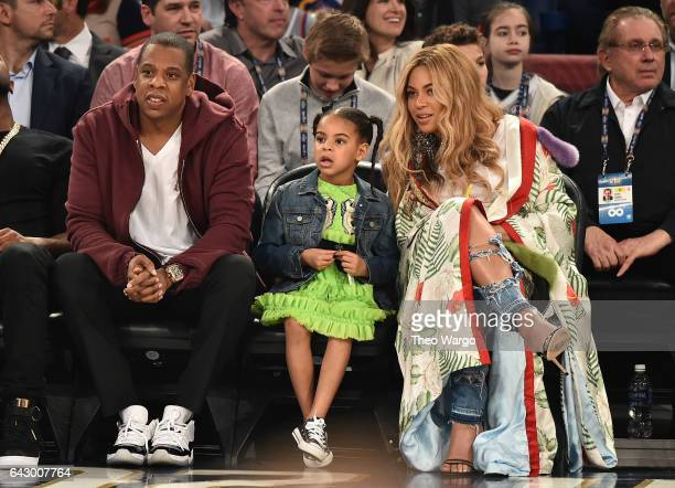 Jay Z, Blue Ivy Carter and Beyoncé Knowles attend the 66th NBA All-Star Game at Smoothie King Center on February 19, 2017 in New Orleans, Louisiana.