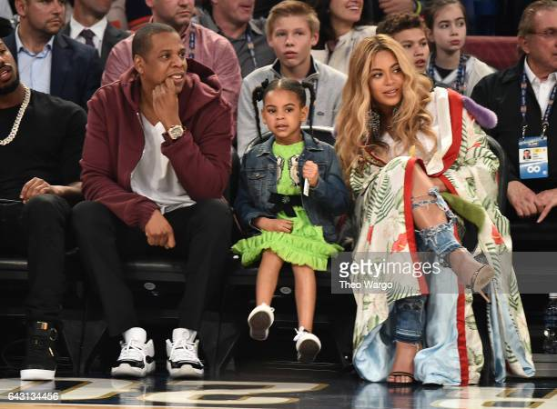 Jay Z Blue Ivy Carter and Beyonce Knowles attend the 66th NBA AllStar Game at Smoothie King Center on February 19 2017 in New Orleans Louisiana