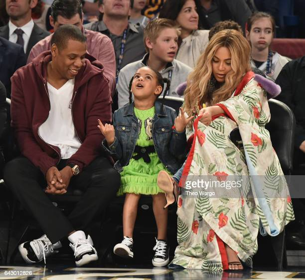 Jay Z, Blue Ivy Carter, Beyoncé Knowles attend the 66th NBA All-Star Game at Smoothie King Center on February 19, 2017 in New Orleans, Louisiana.